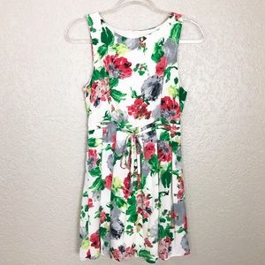 EUC One Clothing floral tie waist pleated dress